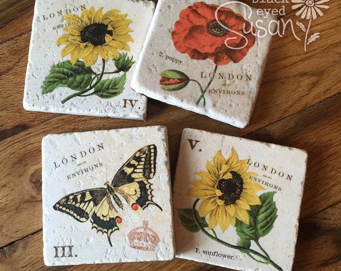 "4 Piece Sunflowers, Poppy & Butterfly Botanical Coaster Set of Natural Stone | 4"" x 4"" w/ Felt Bottoms"