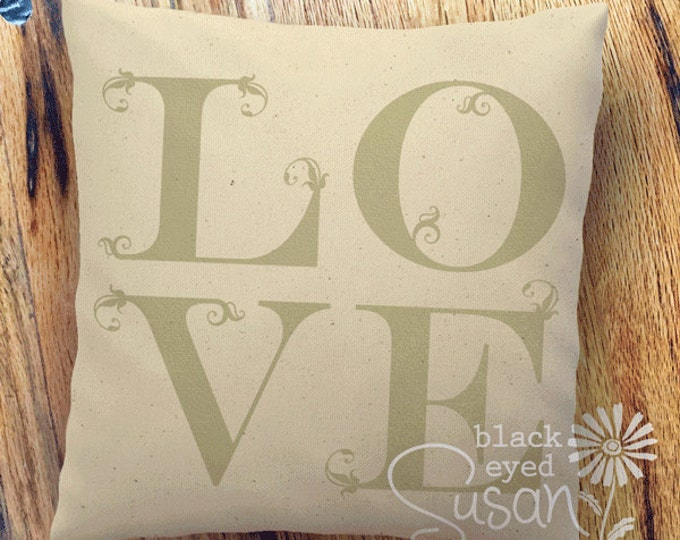 "LOVE Pillow Cover Natural 100% Cotton Canvas or Lined Burlap | 14""x14"" 18""x18"" 22""x22"" 