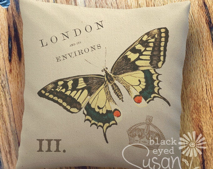 "Butterfly Pillow Cover | 100% Cotton Canvas | 14""x14"" 18""x18"" 22""x22"" 