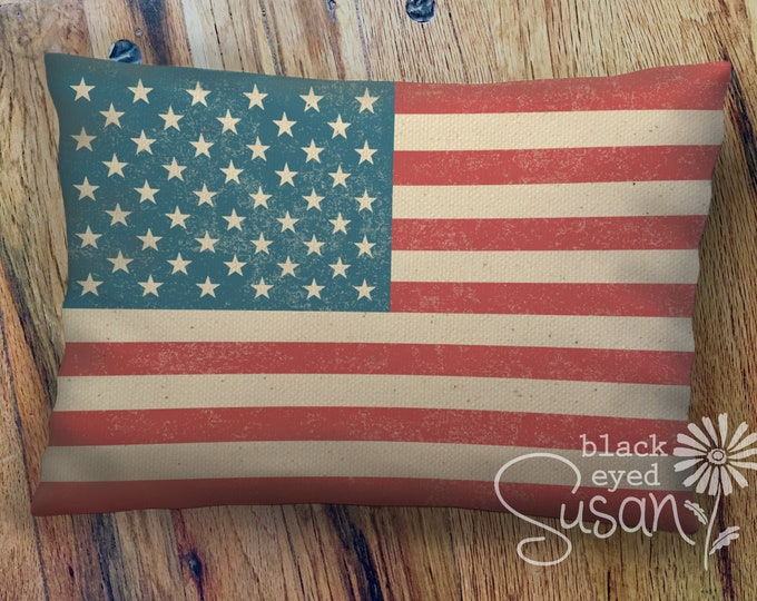 "Distressed U.S. Flag Pillow Cover of Natural 100% Cotton Canvas or Lined Burlap | 12"" x 18"" or 16"" x 24"" 