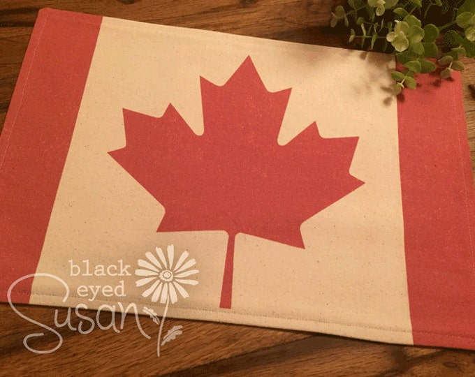 "Canadian Flag Placemat of Natural Burlap or Canvas | Fully Lined w/ Cotton Canvas Backing | 11"" x 16"" 