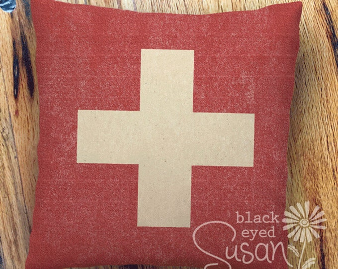 "Distressed Swiss Flag Pillow Cover of Natural 100% Cotton Canvas or Lined Burlap | 14""x14"" 18""x18"" 22""x22"""