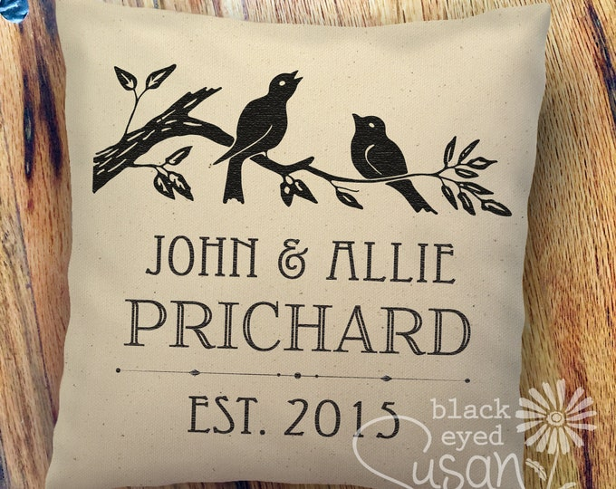 "Lovebirds Wedding or Anniversary Print Pillow Cover of Natural Canvas or Lined Burlap | 14""x14"" 18""x18"" 22""x22"""