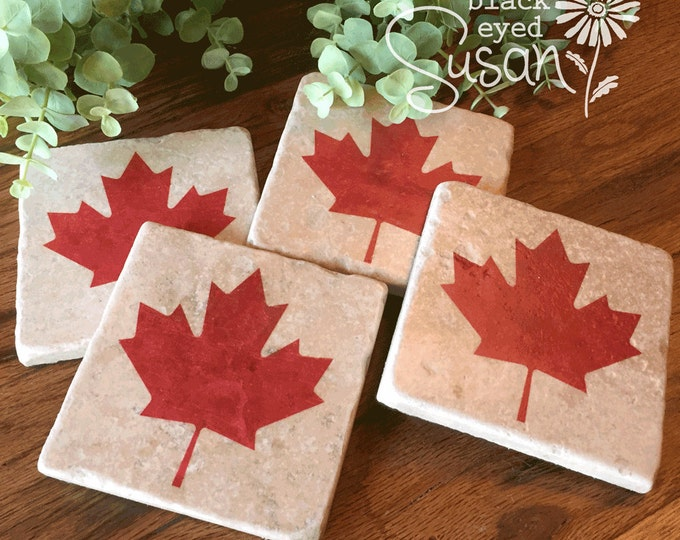 "4 Piece Maple Leaf Coaster Set of Natural Stone Distressed | 4"" x 4"" w/ Felt Bottoms"