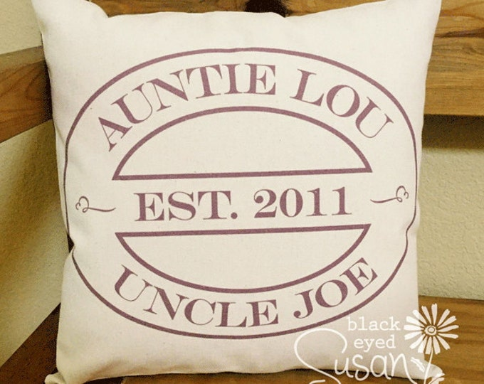 "Aunt & Uncle Pillow Cover of Natural Canvas or Lined Burlap | 14""x14"" 18""x18"" 22""x22"" 