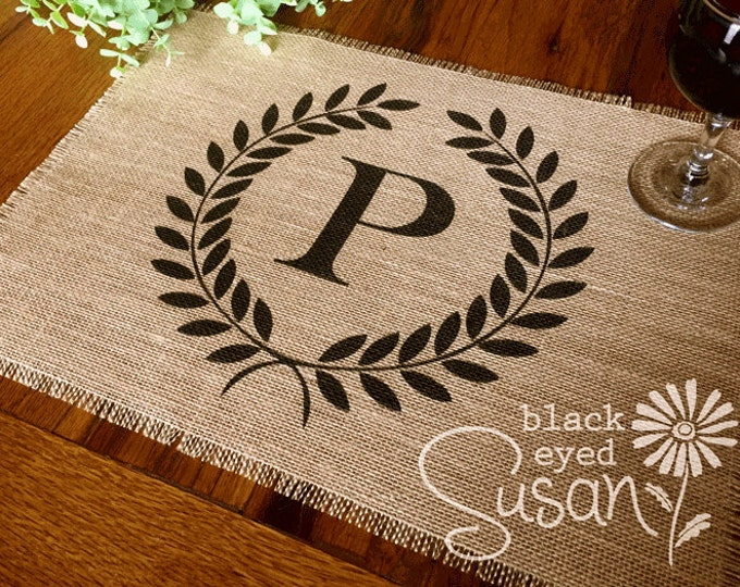 "Monogram Laurel Wreath Placemat of Natural Burlap with Raw and Reinforced Edge | 11"" x 16"""