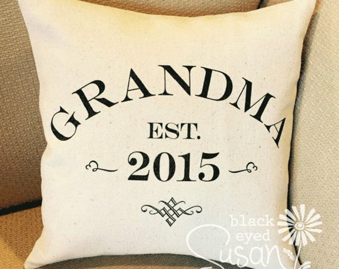 """Custom Grandma, Grandpa, Etc. Pillow Cover of Natural Canvas or Lined Burlap 