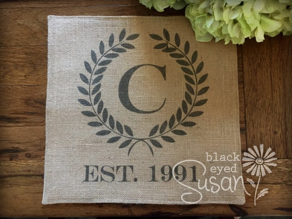 Square Monogram Laurel Wreath with Date Placemat of Natural 100% Cotton  Canvas or Burlap | Cotton Backing | 14