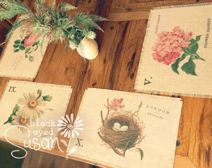 """Botanical English Garden Placemats of Natural Burlap with Raw and Reinforced Edge 