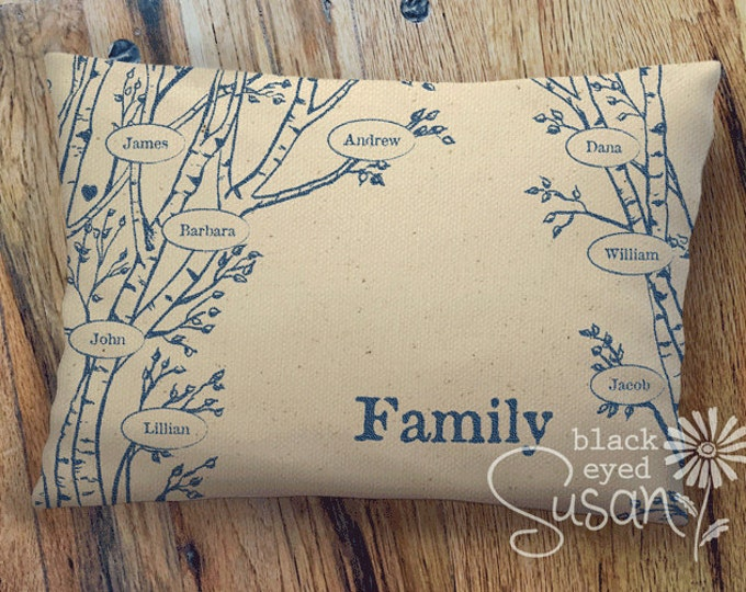 """Aspen Tree """"Family Tree"""" Pillow Cover of Natural 100% Cotton Canvas 