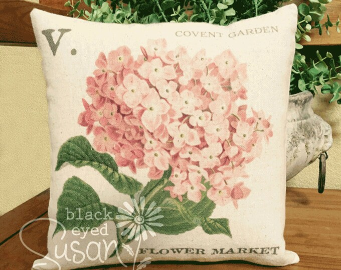 "Pink Hydrangea Pillow Cover | 100% Cotton Canvas | 14""x14"" 18""x18"" 22""x22"" | Covent Garden Flower Market"