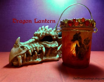 Dragon Lanterns - One of a Kind - Mason Jar and LED Battery Powered Candle with Baby Dragon hatching in the flame