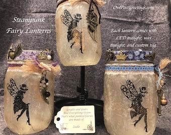 Steampunk Fairy Lanterns - One of a Kind - Mason Jar and LED tea light