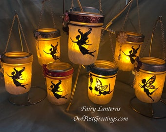 Fairy Lanterns - One of a Kind - Mason Jar and LED Battery Powered Candle with Fairy Silhouette, Charm and Flower