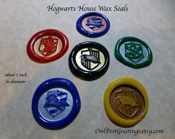 School of Witchcraft and Wizardry House Crest Wax Seals for invitations and more