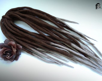 "Wool Dreadlocks Dreads "" Carmel Muffin "" DE"