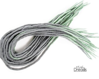 "Wool dreadlocks Dreads Full Set DE ""Grey+Green"" Double Ended Dread"