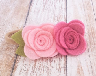 Felt Rose Flower Nylon Headband - CHOOSE ANY COLORS, 40+ Colors / Felt Flower Headband / Felt Rose Headband / Felt Rosette Flower Headband