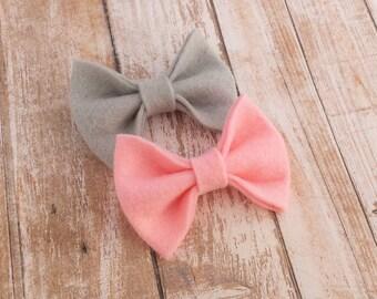 40+ Colors- Chunky Wool Felt Bow Clip or Headband / Felt Bow Headband / Felt Bow Clip / Newborn Headband / Baby Felt Hair Bow / Bow Headband