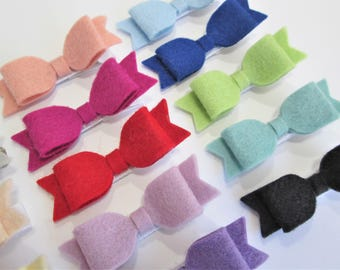 CHOOSE ANY THREE / 40+ Colors - Mini Wool Felt Hair Bow Clip Trio Set / Felt Hair Bow Clip / Felt Bow Clip Set / Mini Felt Hair Bow Clips /