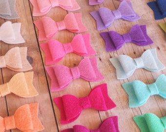 CHOOSE ANY TWO / 40+ Colors - Mini Wool Felt Hair Bow Clip Set / Mini Felt Bow / Felt Bow Clip / Mini Bow Clip / Felt Hair Clip / Felt Bows
