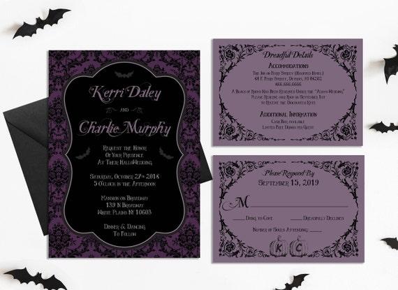 Halloween Wedding Invitations - Purple and Black