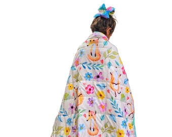 """Weighted Blanket Kids 5 lbs 55""""x42"""" inch Girls Florals Sensory Sleep Plush Minky Glass Beads Toddler Children 40 to 60 pounds Flowers Foxes"""