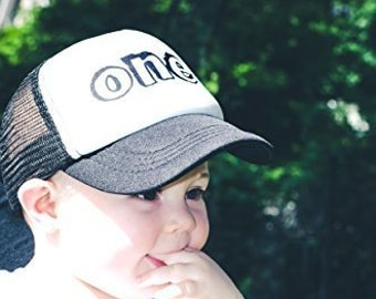 f08cb1a4cfb Kids Two Tone Trucker Hat Summer Mesh Baseball Cap Boys Girls Birthday One  Toddler Sun Protection Birthday