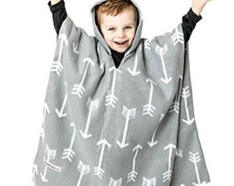 Kids Car Seat Poncho Baby Toddler CPSC Safety Compliant Car Crash Tested Gray Arrows Reversible Warm Blanket Cover Coat Fleece Boy Girl