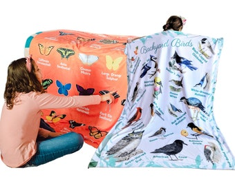 Birds Butterflies Common Backyard Species Pictures Names Identification Learning Blanket for Kids Large 50x60 Educational Gift Double Layer