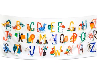 Alphabet Pictures Tapestry for Kids Educational Letters Pictures Wall Hanging Dorm Bedroom Classroom School Decoration 72inx28in