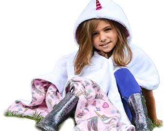 Unicorn Minky Plush Shiny Horn Car Seat Poncho Carseat Crash Tested CPSC Girls Safety Compliant Hooded Blanket Girls Toddler Baby OVER Belt