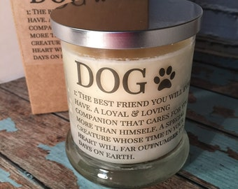 Dog Candle, Dog Lover Candle,  Dog Lover Gift, Natural soy candle, New Puppy Gift,  Whiskey Glass Candle, dog memorial, Gift for Girlfriend