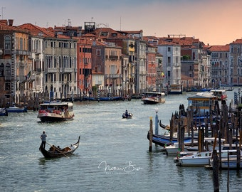 Gondolier on the Grand Canal -- Venice, Italy Sunset