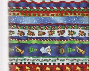 Henry Glass 1.5 Yards Fireside Pups Christmas Border Stripe by Robert Giordano from 100/% Cotton Quilt Fabric 7192-99