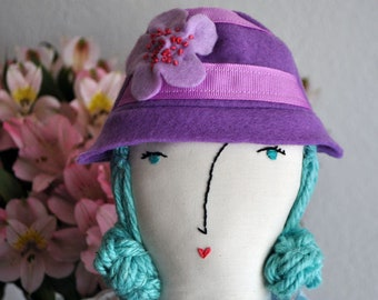 Doll accessory, doll hat, doll clothes, handmade, felt, doll hat, purple, embroidered, fancy doll hat