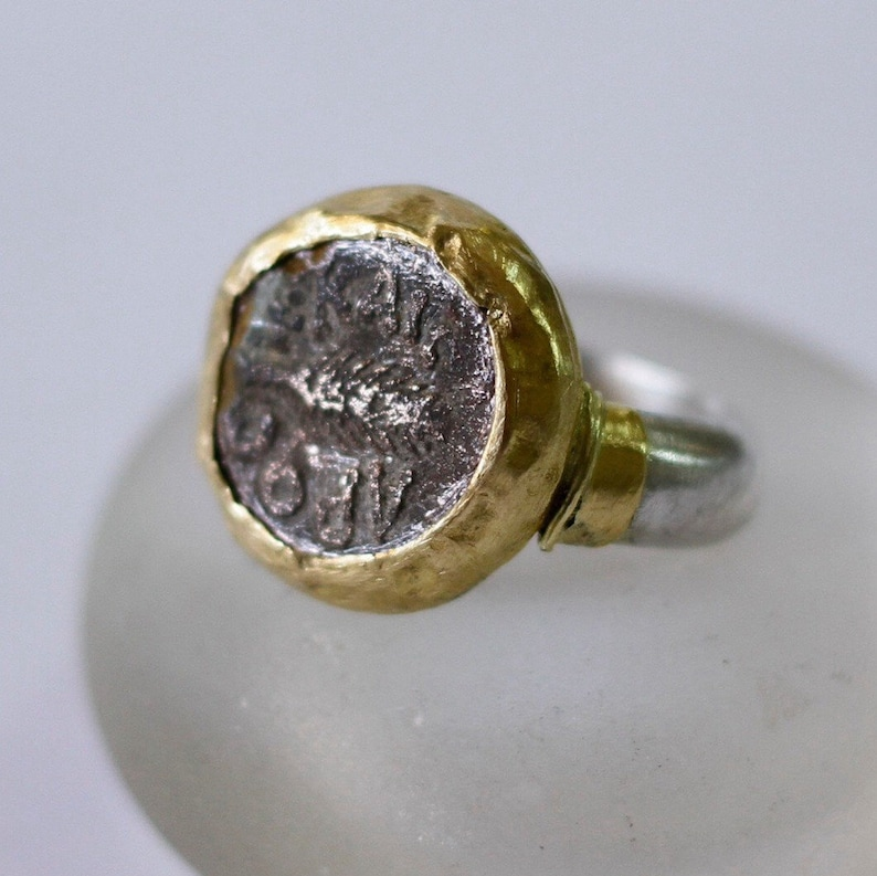 cd93ca446870 Antigua moneda de anillo anillo de plata y oro monedas joyas