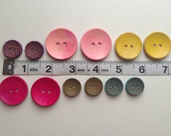 Wood Button Set of 12 -  20, 25 & 30 mm Pink, Purple, Green, Teal, Yellow for crochet, sewing, scrap booking projects SET 19