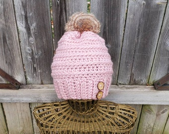 Women's Crochet Beanie in Rose Pink with Faux Fur Pom-Pom and Coconut Shell Buttons