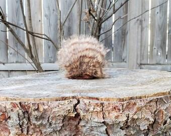 """Two-tone Brown Striped Faux Fur Handmade Pom-Pom, XS, 2.5-3"""""""