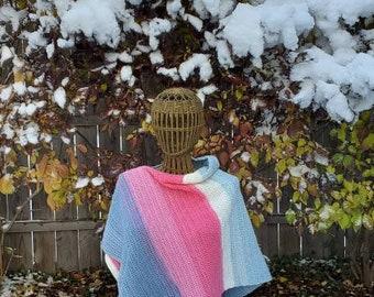 Women's Crochet Poncho Sweater in Blue, White, Pink & Purple, Size Medium