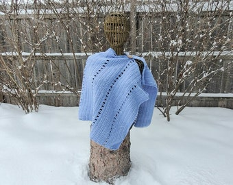 Women's Crochet Poncho Sweater in Blue with a touch of Sparkle, Size Medium-Large