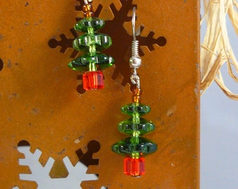 Deep Green Crystal Tree Earrings, Christmas