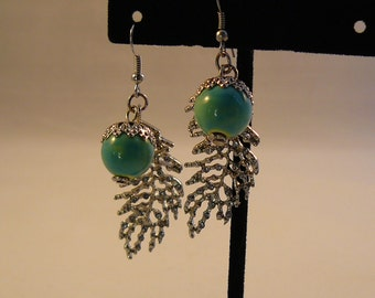 Turquoise Acorn and Silver Leaf Earrings