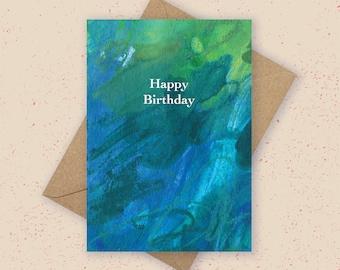 Happy Birthday Card - Abstract Ocean Painting Card, Seascape Card, Blue Birthday Card, Colourful Card, Contemporary Card, Modern Card