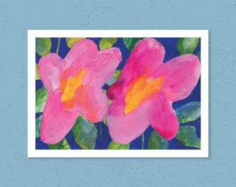 Pink Floral Painting Art Print, A4 Art Print, Botanical Painting, Botanical Art Print, Pink Flowers Painting