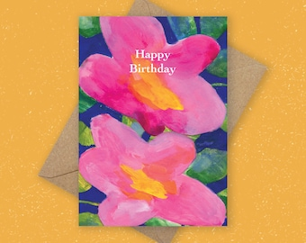 Happy Birthday Card - Pink Floral Card, Abstract Friendship Design, Friendship Card, Botanical Greeting Card, Birthday Card, Pink Flower