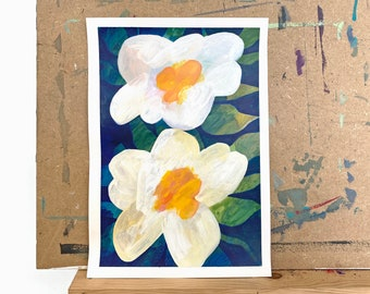 Original Painting, White Floral Acrylic Painting, Original Wall Art, Botanical Wall Art, Botanical Painting, Contemporary Painting