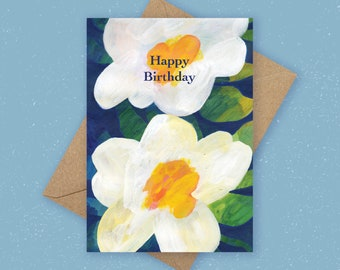 Happy Birthday Greetings Card, Beautiful White Floral Card, Abstract Card, Pink Birthday Card, Floral Wedding Card, Botanical Greeting Card
