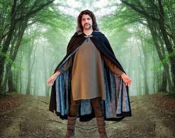 Mens Black Cloak Pure Melton Wool Cernunnos Fully Lined *Ready Now* Druid Pagan Shaman Witch Wizard Priest Celebrant Avalon Cloaks